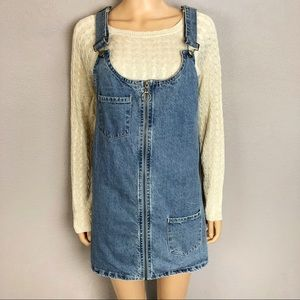 Forever 21 Denim Pinafore Overall Dress Zip Up